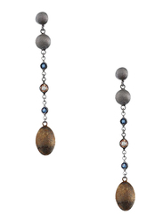 Equss Sterling Silver Drop & Dangle Earrings for Women with Blue/Brown Crystal Stone, Grey/Bronze