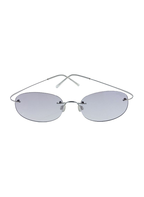 Lancaster Shock Lady Polarized Rimless Oval Sunglasses for Women, Grey Lens, SUN01B, 60/25/120