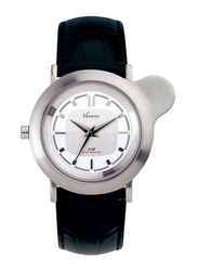 Venexx Analog Unisex Watch with Leather Band, Water Resistant, PW6.2D, Black-Silver