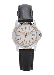 Jacques Du Manoir Analog Watch for Women with Leather Band, Water Resistant, OM4, Black-White