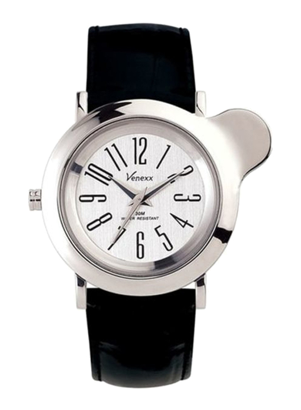 Venexx Analog Unisex Watch with Leather Band, Water Resistant, PW5.2A, Black-White