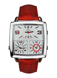 Equss Sirus Analog Unisex Watch with Leather Band, Water Resistant and Chronograph, EQS7090013C, Red-White
