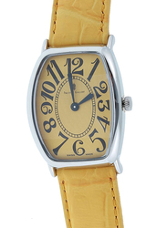 Prestige Analog Unisex Watch with Leather Band, Water Resistant, 21176 3P-JB, Yellow