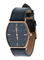 Jacques Du Manoir Analog Watch for Women with Leather Band, LOR8, Black