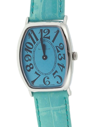 Prestige Analog Unisex Watch with Leather Band, Water Resistant, 21176 3P-BUB, Blue