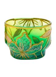 Libra Tea Light Indoor/Outdoor Candle Holder Set, 2-Pieces, Green/Yellow/Gold