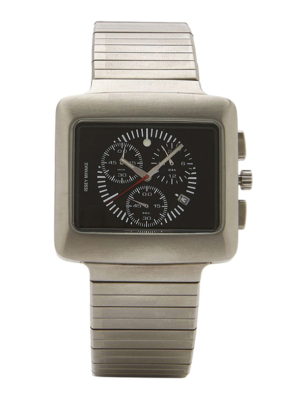 Issey Miyake Vakio Analog Unisex Watch with Stainless Steel Band, Water Resistant and Chronograph, ISM60080, Silver-Black