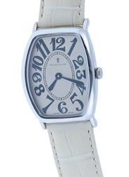 Prestige Analog Unisex Watch with Leather Band, Water Resistant, 21176 3P-BEB, White-Beige