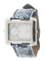 Regnier Analog Unisex Watch with Leather Band, Water Resistant, 1107113, Blue-White