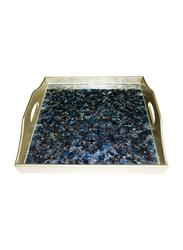 Oikonomia 40cm Porcelain Constelacion Traditional Serving Tray, PRU6321, Blue/Gold
