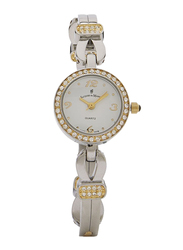 Jacques Du Manoir Analog Watch for Women with Stainless Steel Band, Water Resistant, FL95, Silver-White