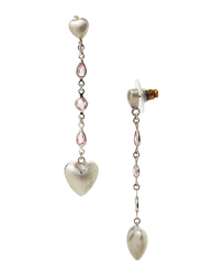 Equss Sterling Silver Heart Shape Drop & Dangle Earrings for Women with Pink Crystal Stone, Silver