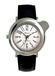 Venexx Analog Watch for Women with Leather Band, Water Resistant, PW5.2+ST14, Black-White