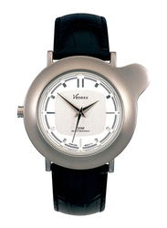Venexx Analog Unisex Watch with Leather Band, Water Resistant, PW4.2D, Black-White