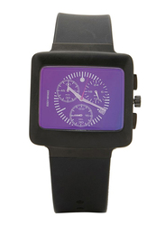Issey Miyake Vakio Analog Unisex Watch with Rubber Band, ISM60006, Black-Purple