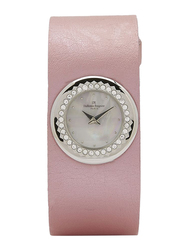 Regnier Analog Watch for women with Leather Band and Mother of Pearl Dial, Water Resistant, PG123E, Pink-Multicolour