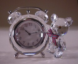 Swarovski Memories Kris Bear Table Indoor Decorative Clock, Clear