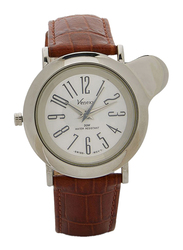Venexx Analog Unisex Watch with Leather Band, Water Resistant, PW5.2+ST15, Brown-White