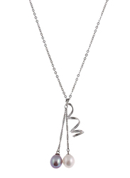 Equss Sterling Silver Necklace for Women with Silver/White Pearl Pendant, White/Grey/Silver