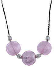 Equss Sterling Silver Black Necklace for Women with Pink Crystal Stone and White Pearl, Pink