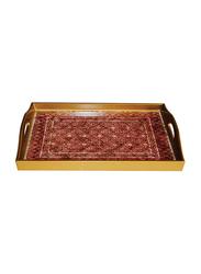 Oikonomia 49cm Porcelain Mosaico Rojo Rectangular Serving Tray, PRU6349, Red/White/Gold