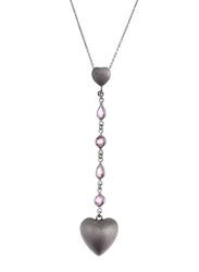 Equss Sterling Silver Y-Shape Necklace for Women with Pink/Silver Crystal Stone Heart Shape Pendant, Pink