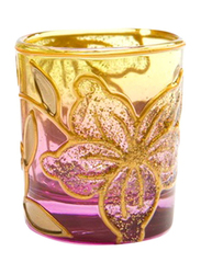 Libra 7cm Cylindrical Tea Light Indoor/Outdoor Candle Holder, 2-Pieces, Gold/Purple