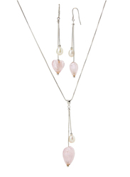Equss Sterling Silver Earrings and Necklace Set for Women with Pink Heart Shape Crystal Stone and White Pearl Pendant, Pink