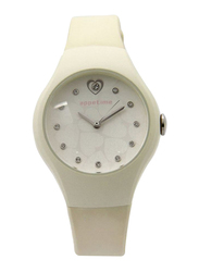 Appetime Analog Watch for Women with Rubber Band, Water Resistant, SVJ211064, White