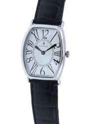 Prestige Analog Unisex Watch with Leather Band, Water Resistant, 21176 3P-AR, Black-Silver
