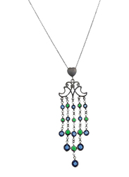 Equss Sterling Silver Necklace for Women with Blue/Green Crystal Pendant, Dark Grey