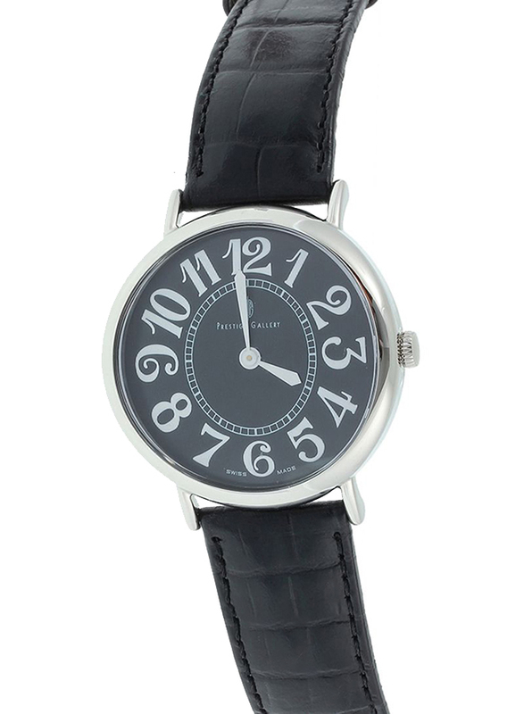 Prestige Analog Unisex Watch with Leather Band, Water Resistant, 21174 3P-NB, Black