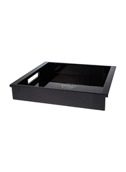 NGA 37cm Wood Ware Lacquer Serving Tray With Handle, LTR542, Black