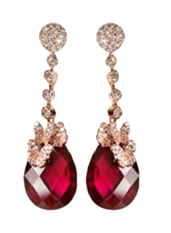 Equss Sterling Silver Drop & Dangle Earrings for Women with Red Crystal Stone, Red/Gold