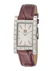 Zoom Muse Analog Watch for Women with Leather Band, Water Resistant, ZOM6029, Brown-White