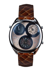 Equss Aster Analog Watch for Men with Leather Band, Water Resistant and Chronograph, EQS7090015B, Brown-Beige