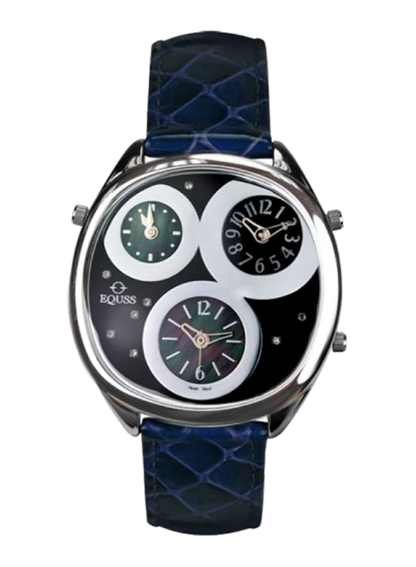 Equss Aster Analog Unisex Watch with Leather Band, Water Resistant and Chronograph, EQS7090015A, Blue-Black