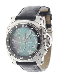 Regnier Analog Watch for Men with Leather Band, Water Resistant and Chronograph, R1275, Black-Blue