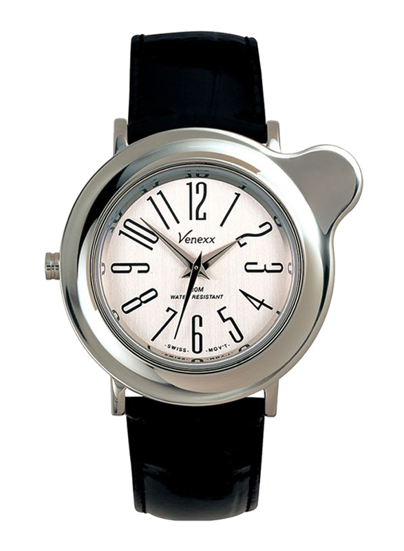 Venexx Analog Unisex Watch with Leather Band, Water Resistant, PW3.2A, Black-White