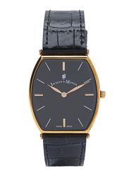 Jacques Du Manoir Analog Watch for Men with Leather Band, Water Resistant, LOR7, Black