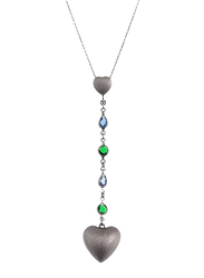 Equss Sterling Silver Y-Shape Necklace for Women with Blue/Silver/Green Crystal Stone Heart Shape Pendant, Grey/Blue/Green