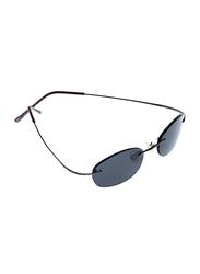 Lancaster Shock Lady Polarized Rimless Oval Sunglasses for Women, Black Lens, SUN01a, 60/25/120