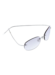 Lancaster Shock Lady Polarized Rimless Oval Sunglasses for Women, Grey Lens, SUN01B, 60/25/120
