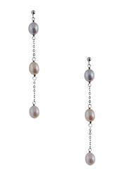 Equss Sterling Silver Drop & Dangle Earrings for Women with Silver/Rose Gold/White Pearl, White/Orange/Purple
