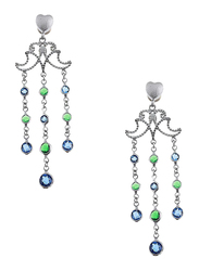 Equss Sterling Silver Drop & Dangle Earrings for Women with Blue/Green Crystal Stone, Silver