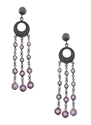 Equss Sterling Silver Drop & Dangle Earrings for Women with Purple Crystal Stone, Dark Grey