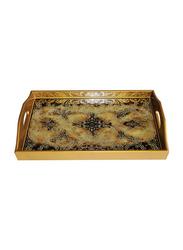Oikonomia 45cm Porcelain Mariposa Nogal Traditional Serving Tray, PRU6358, Gold/Black