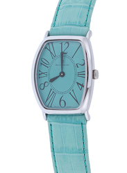 Prestige Analog Unisex Watch with Leather Band, Water Resistant, 21176 3P-VR, Blue
