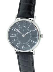 Prestige Analog Unisex Watch with Leather Band, Water Resistant, 21174 3P-NR, Black