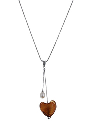 Equss Sterling Silver Earrings and Necklace Set for Women with Brown Heart Shape Crystal Stone and White Pearl Pendant, Brown